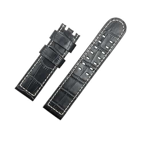 Replacement watch band compitable for the Hamilton Khaki Aviation watch Black Calf Leather strap with rivet 22mm
