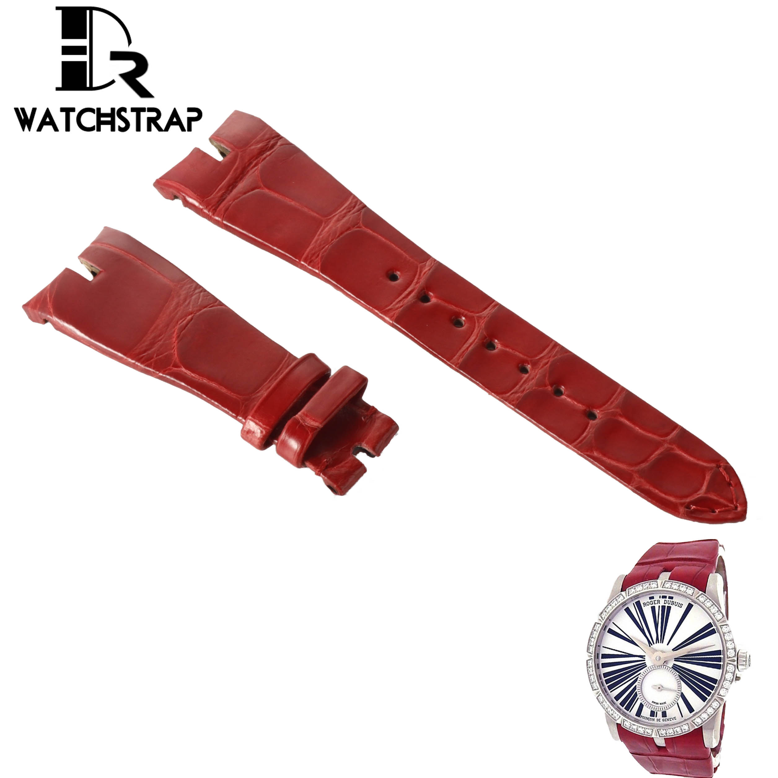 Red-leather-watch-band-for-Roger-Dubuis-Excalibur-ladies-women-watch
