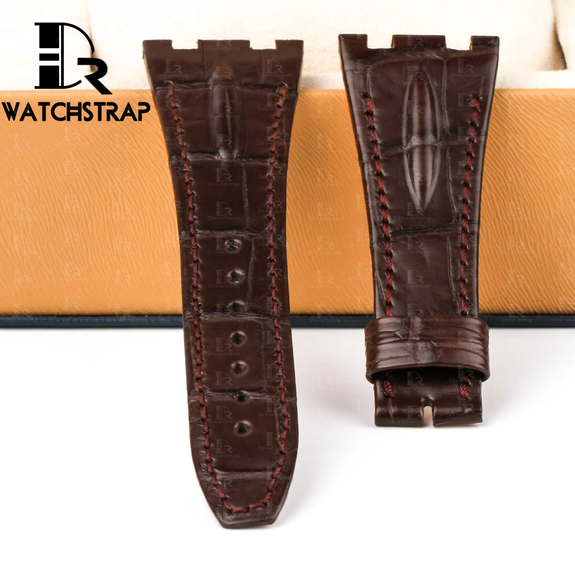 Replacement-brown-alligator-leather-watch-band-strap-bracelet-fit-for-the-Audemars-Piguet-Royal-Oak-Mens-Watch-42mm