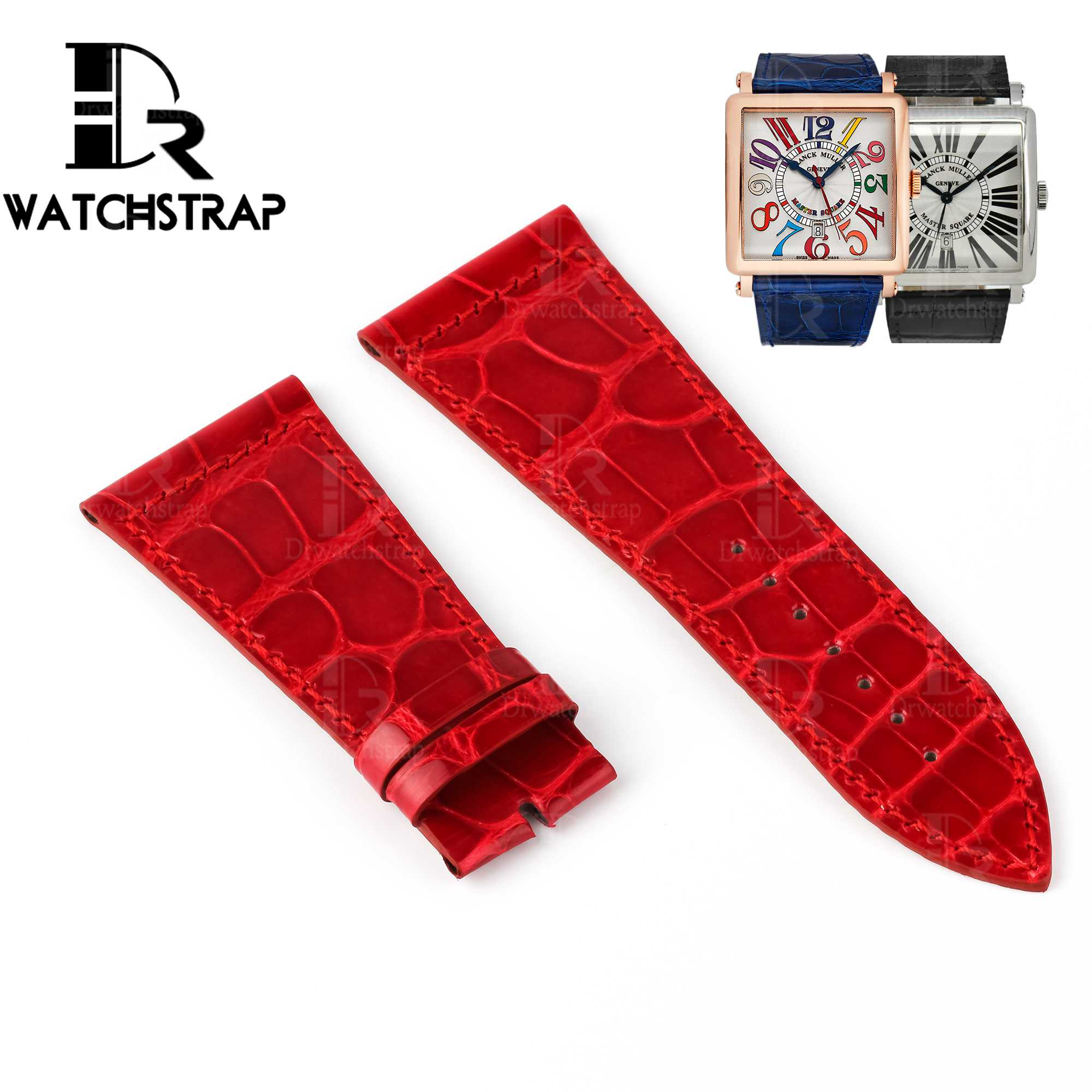 Replacement-Red-Leather-Watch-Band-Strap-Fit-For-Franck-Muller-Master-Square-6000K ST DT