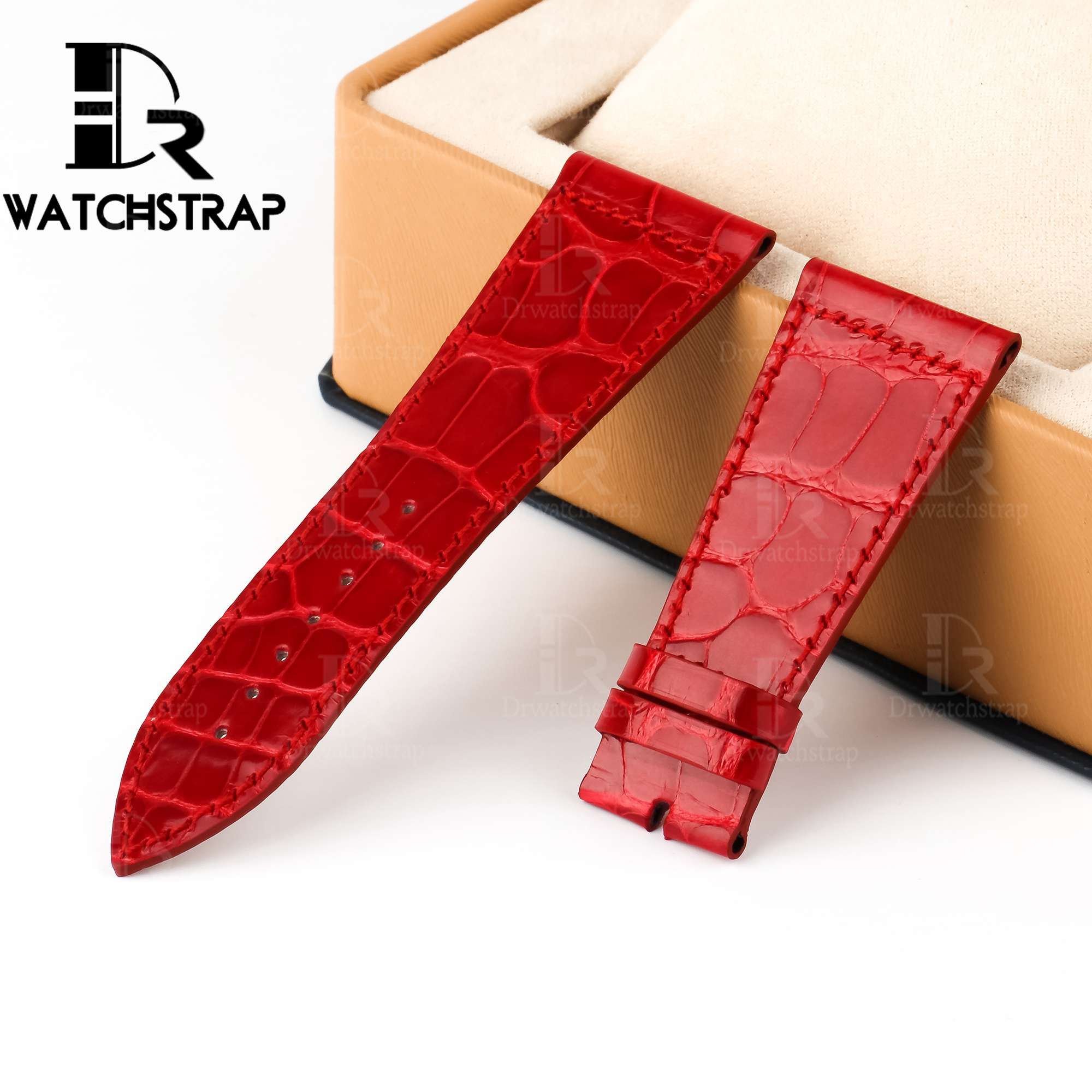 Replacement Red Leather Watch Band Strap Fit For Franck Muller Master Square 6000K ST DT