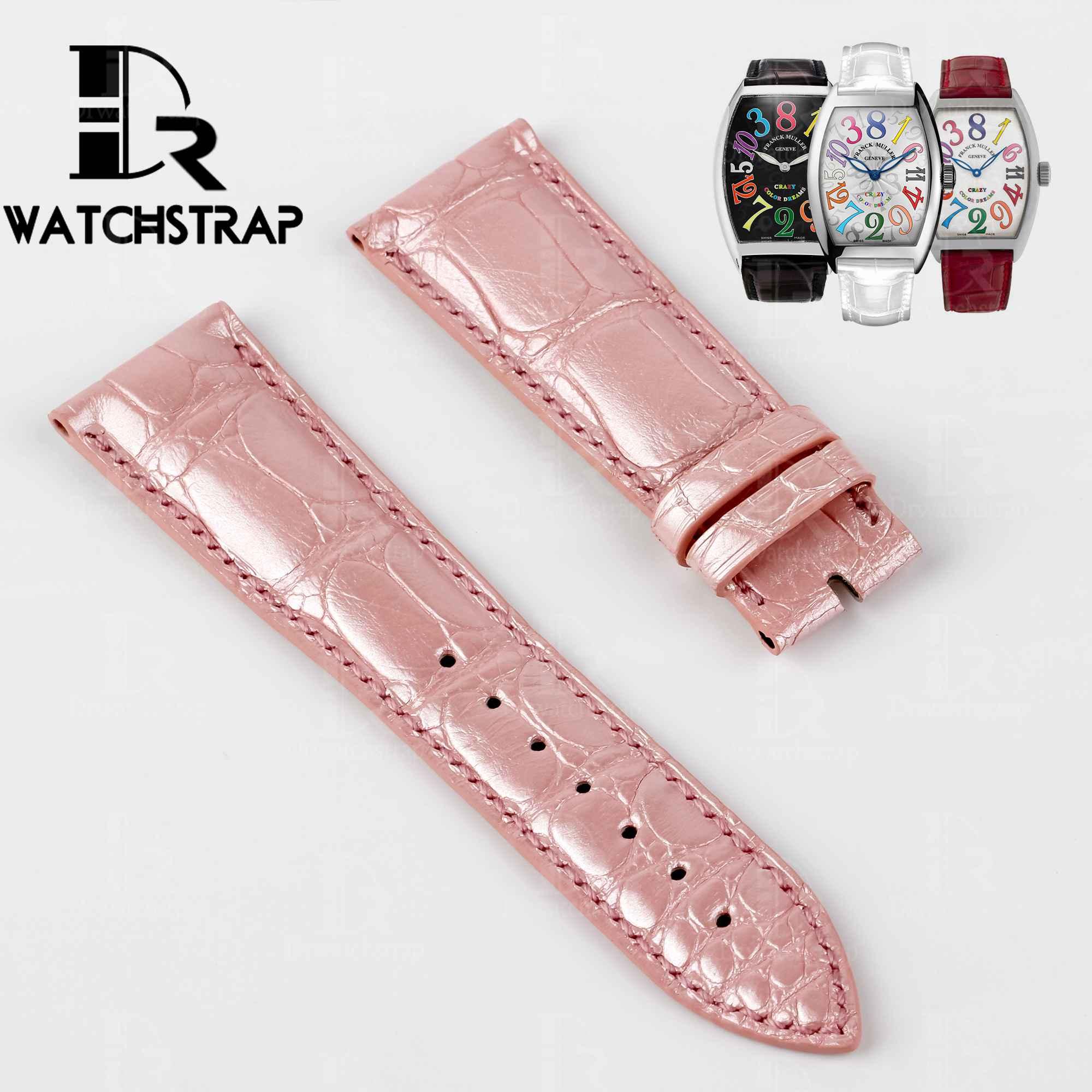 Pink America Alligator leather watch band strap fot Franck Muller CASABLANCA 8880 color dreams wristwatch