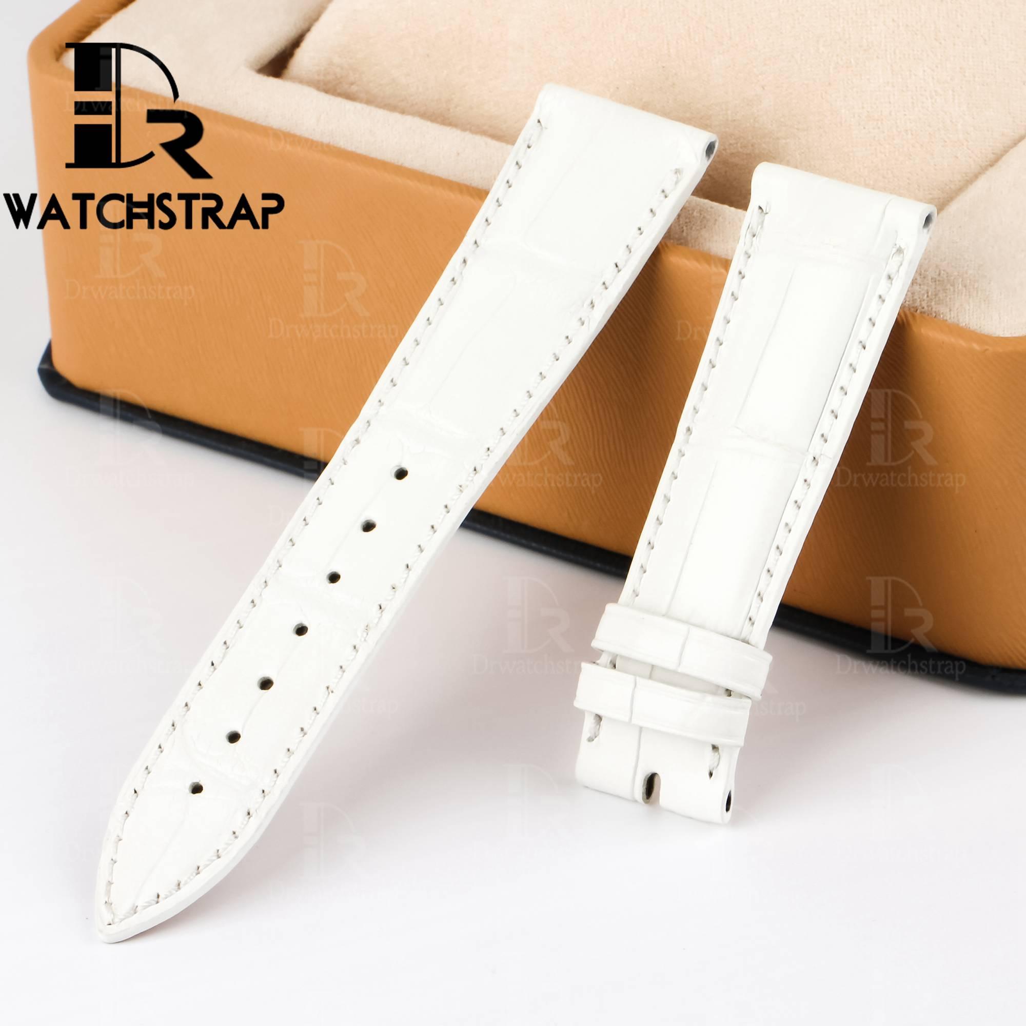 White America Alligator leather watch band strap fot Franck Muller CASABLANCA 8880 color dreams wristwatch