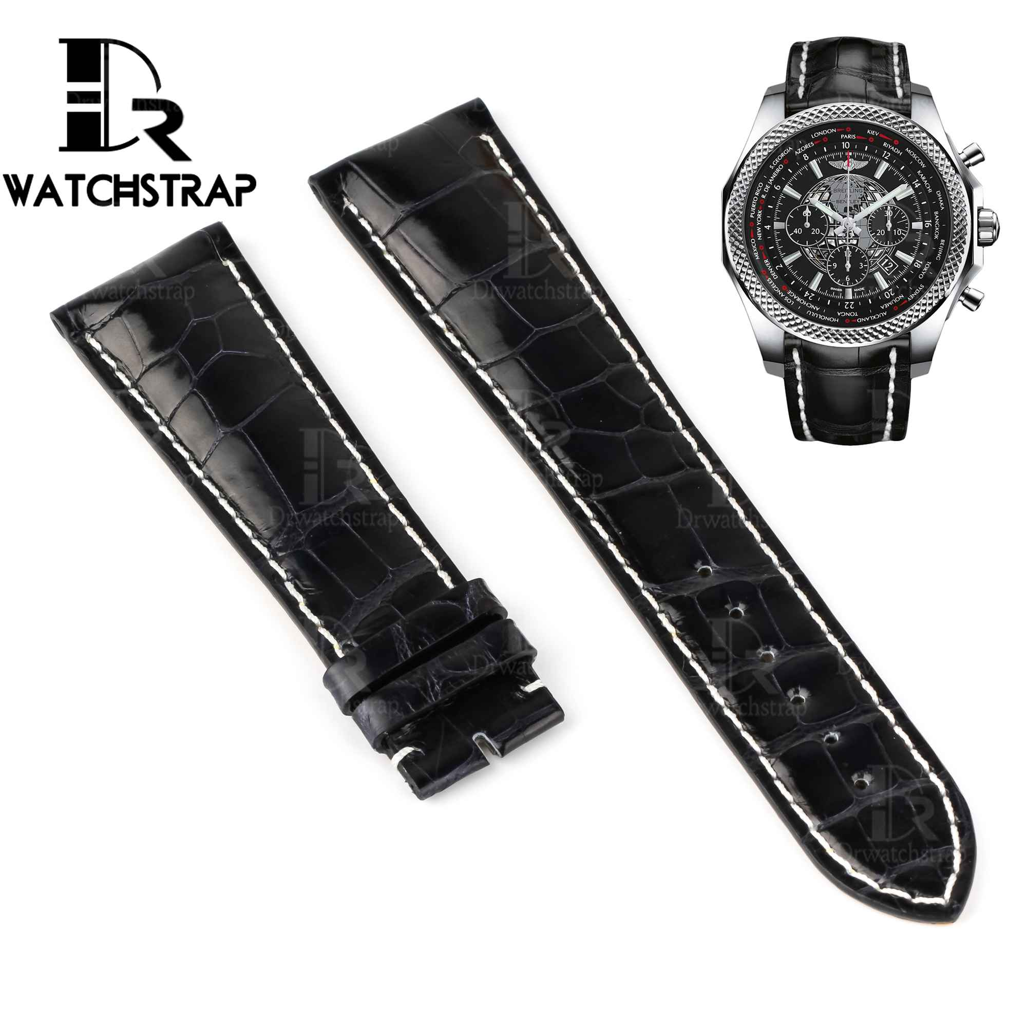 Buy Replacement America alligator leather watch band strap for Breitling Bentley Navitimer Superocean