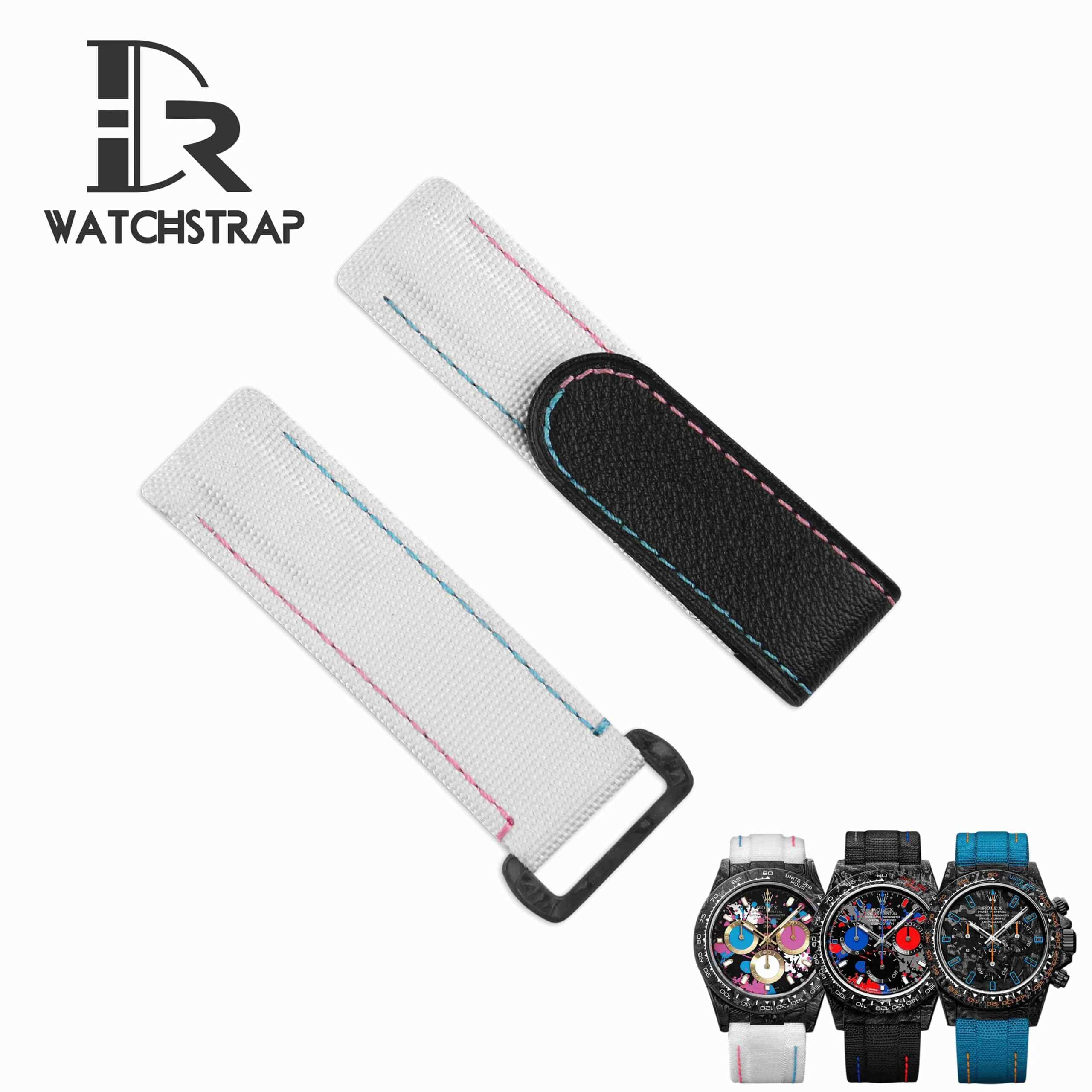 Rolex velcro fabric watch band diw white black blue red orange replacement strap