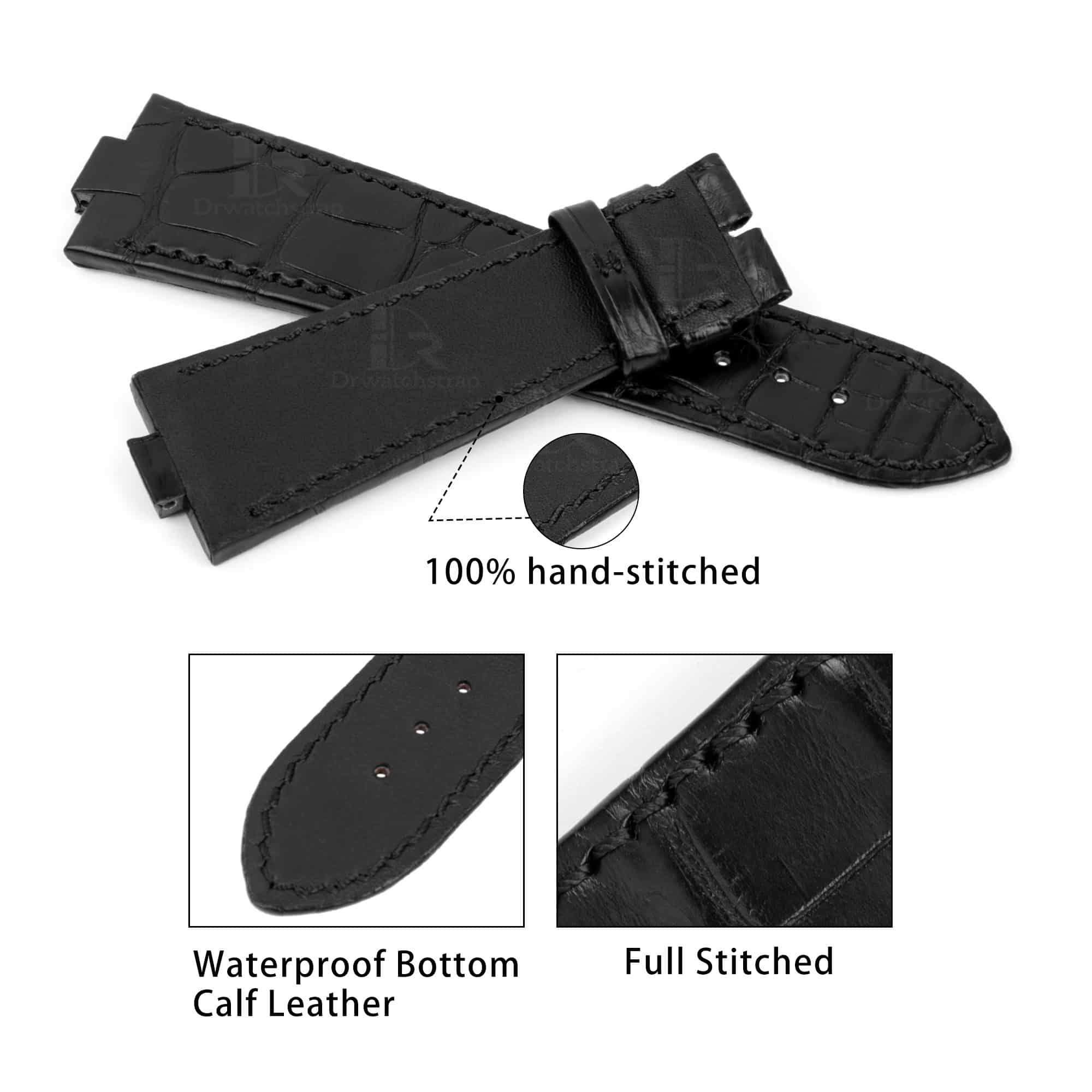 Vacheron Constantin Overseas Leather Strap replacement for sale Custom handmade Black American Alligator watch bands wholesale and retail