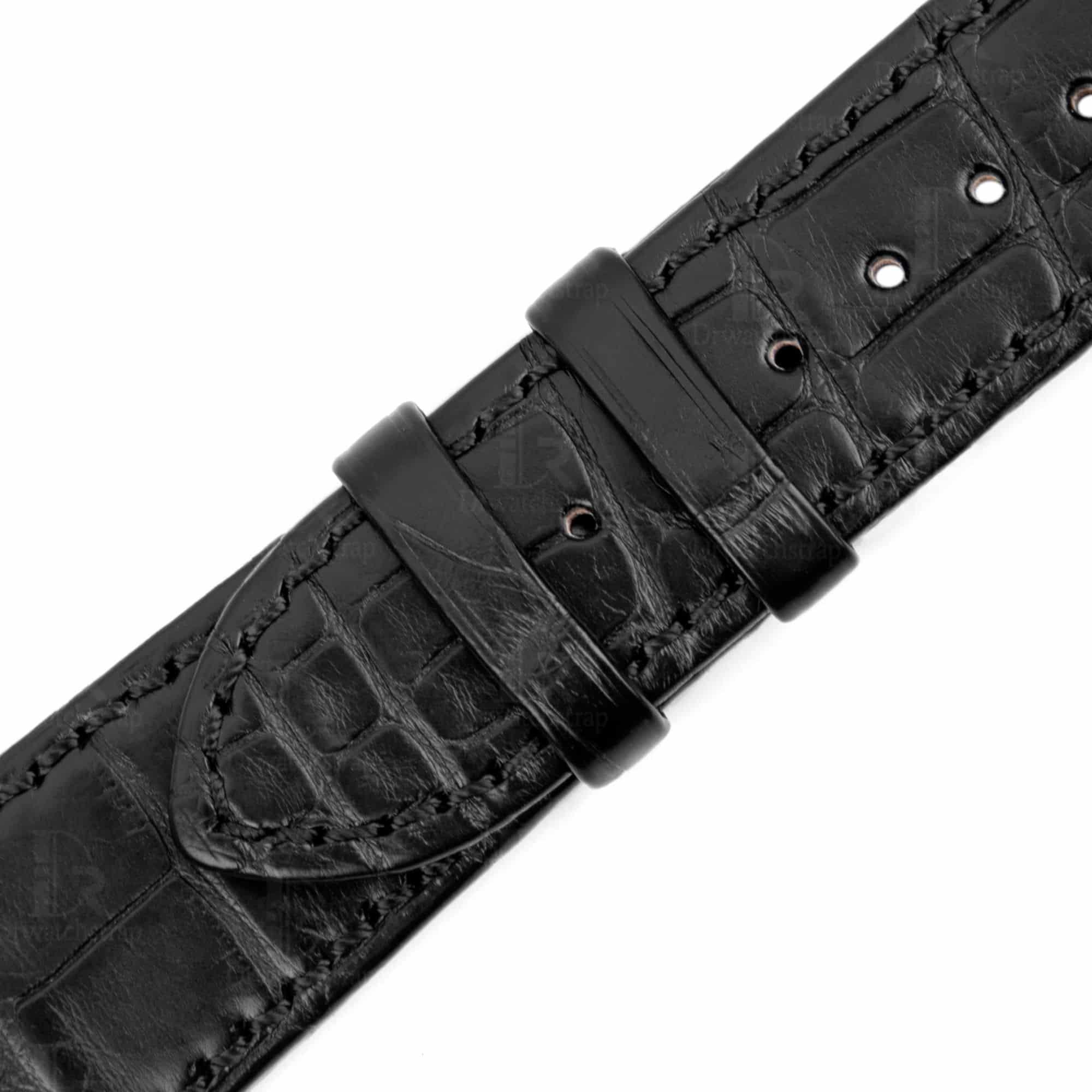 Buy discount price aftermarket Vacheron Constantin Overseas Leather Strap craftsmanship Black American Crocodile watch bands for sale