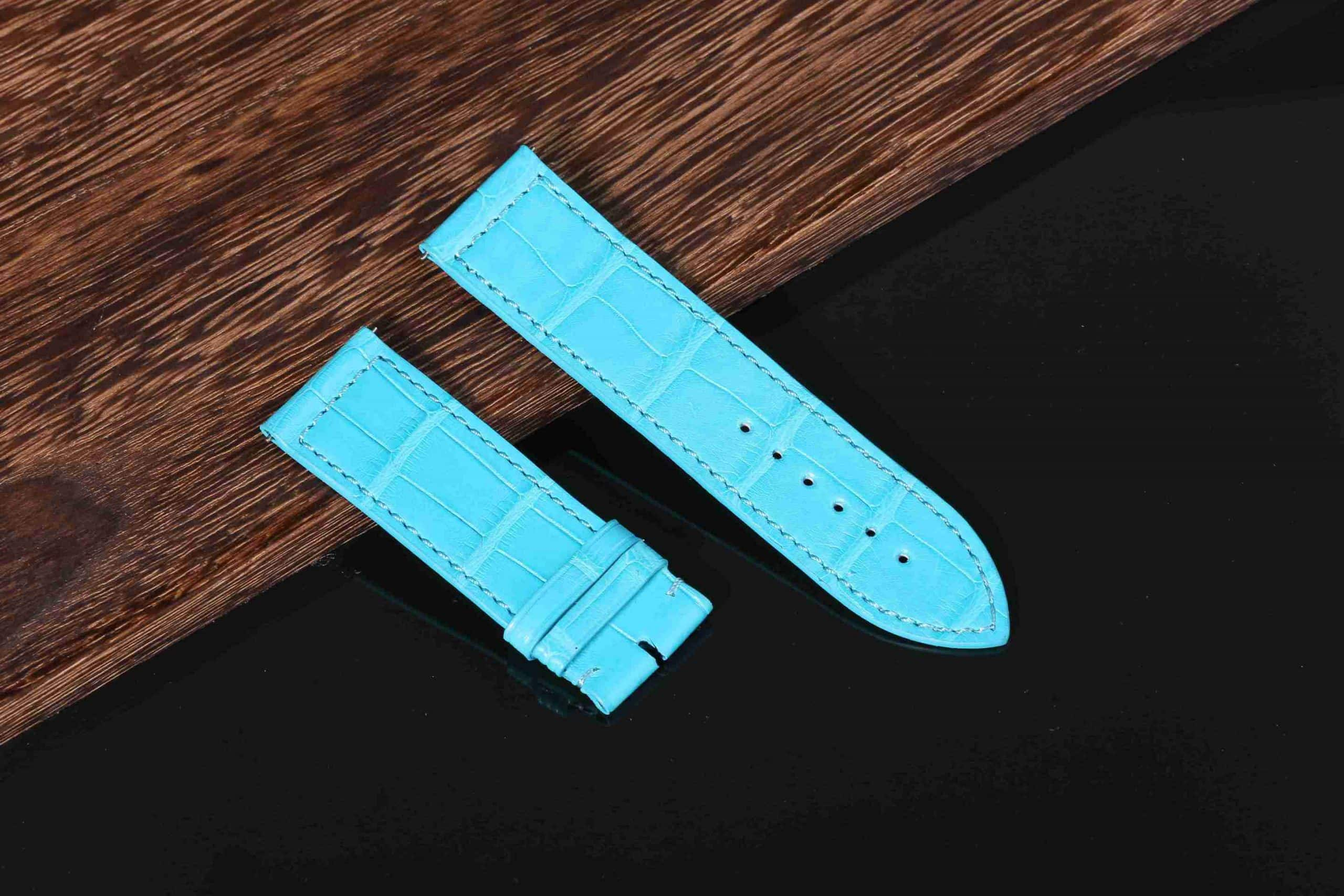Replacement Blue leather strap for Franck Muller Long Island watch