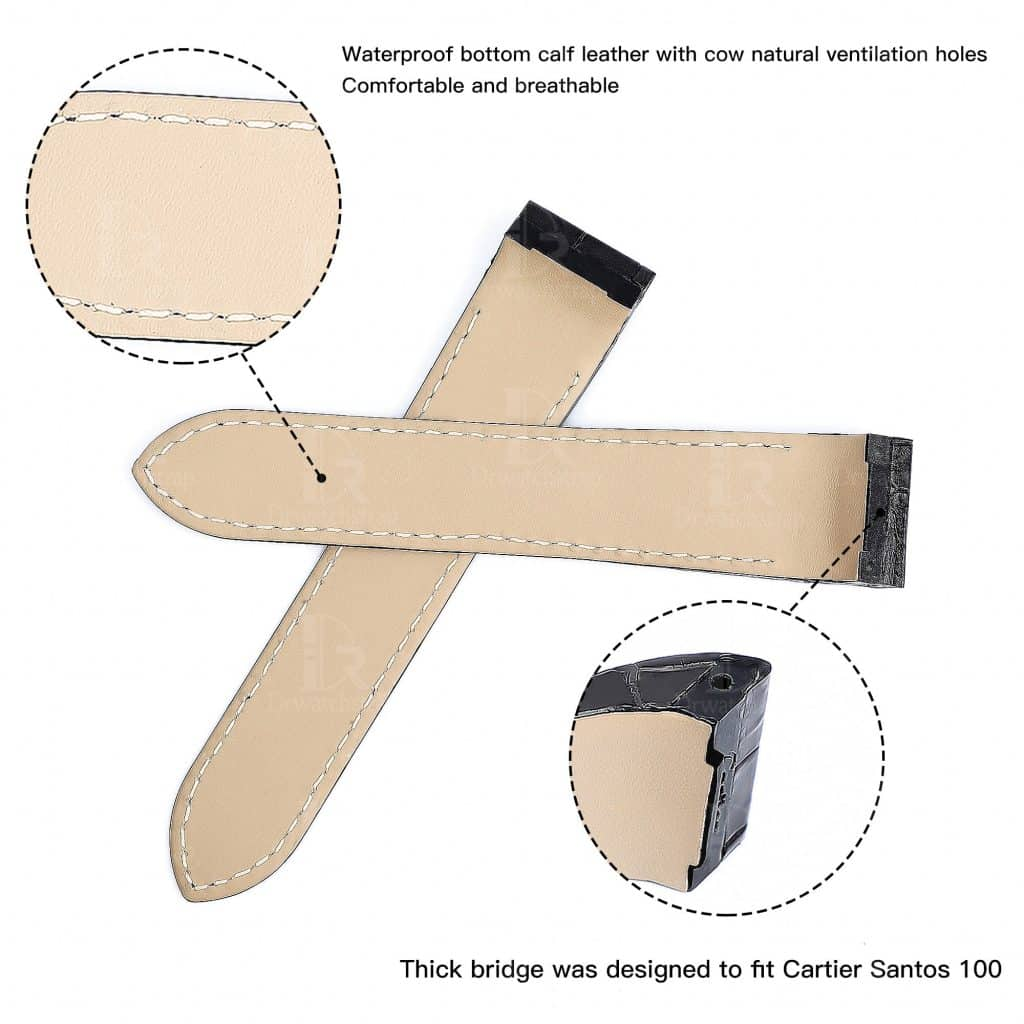 Cartier Santos 100 leather strap replacement watch band for sale