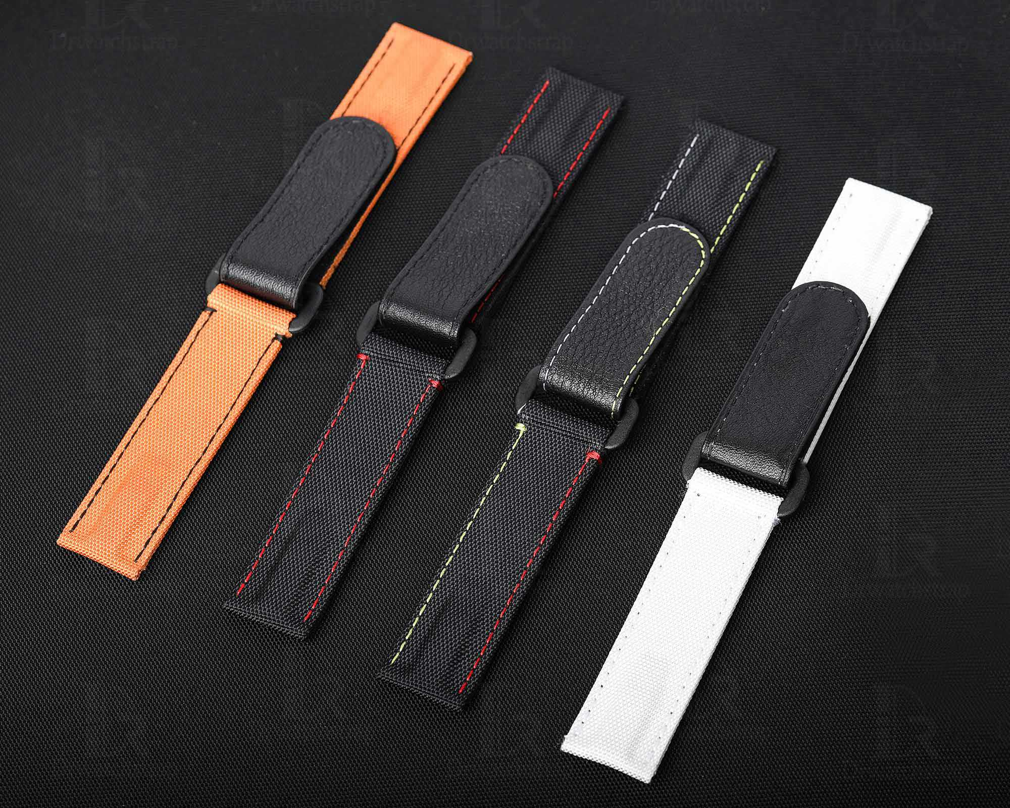 Rolex velcro watch band black, white, orange colors available. Stitching color can be personalized