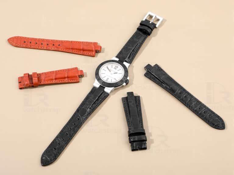 Bvlgari Aluminium leather strap replacement for sale - handmade