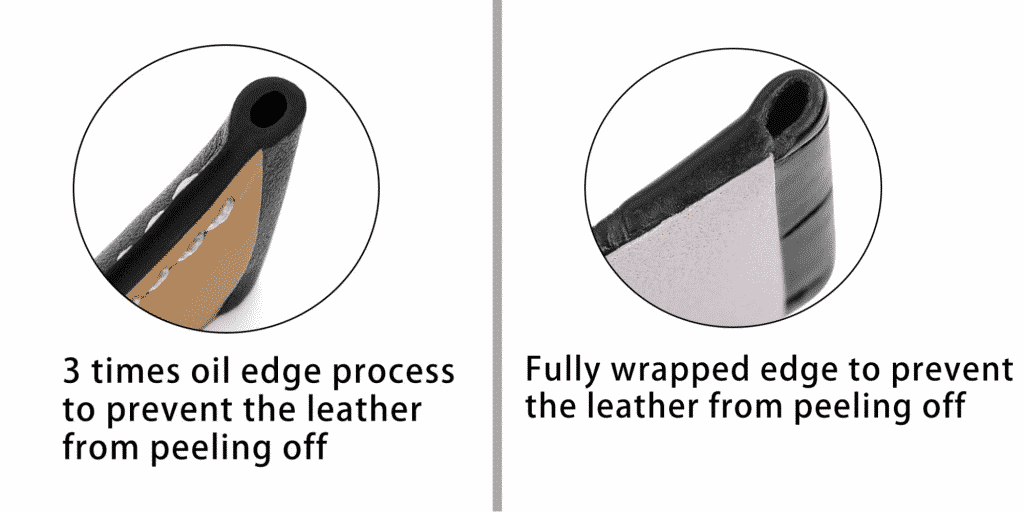 Fully wrapped leather strap vs 3-times oil edge process leather strap